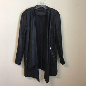 Zara Faux Leather Long Open Cardigan M Black